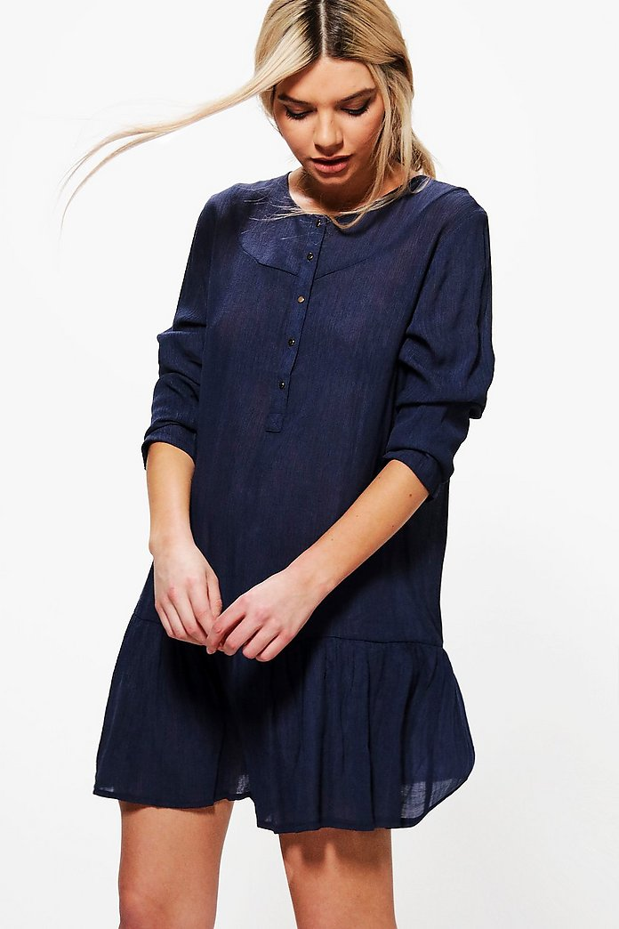 Pamela Button Front Woven Smock Dress