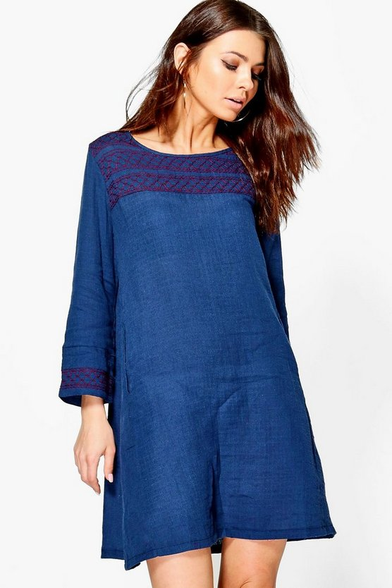 Rita Embroidered Smock Dress