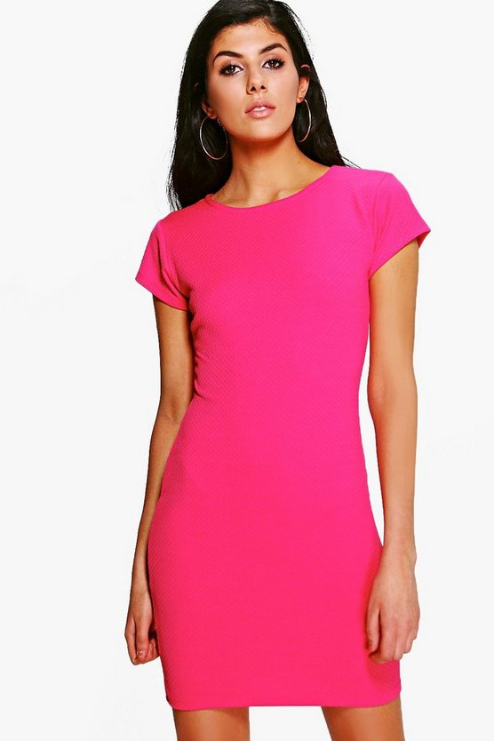 Cara Textured Crew Neck Bodycon Dress