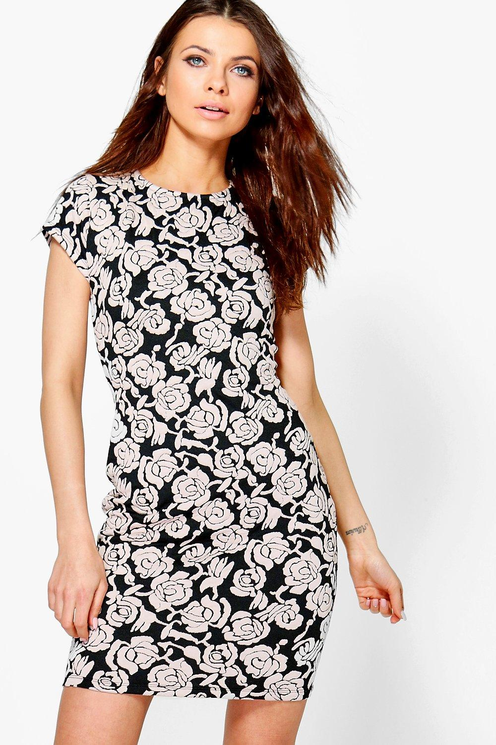 Gloria Textured Floral Bodycon Dress