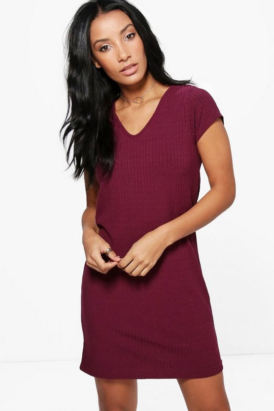 Talia Ribbed V-Neck Short Sleeve Shift Dress