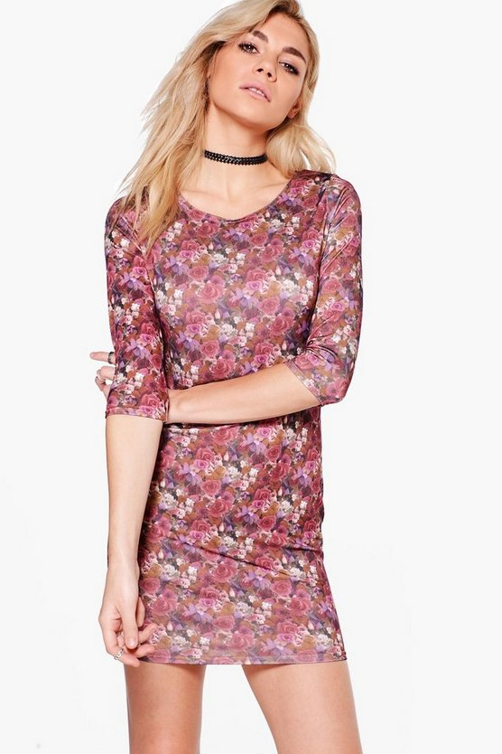 Rosalyn Floral 3/4 Sleeve Bodycon Dress