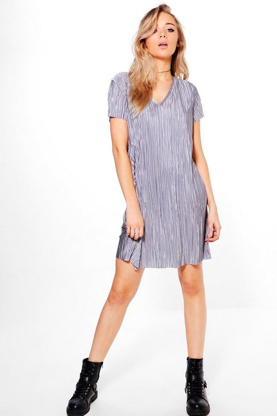 Una V-Neck Short Sleeve Shift Dress