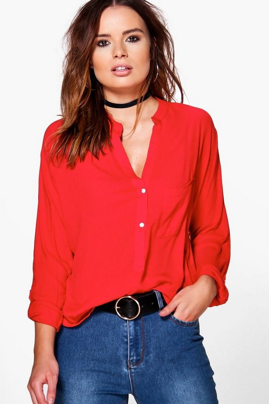 Sarah Button Pocket Blouse