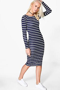 Penny Sripe Long Sleeve Midi Dress