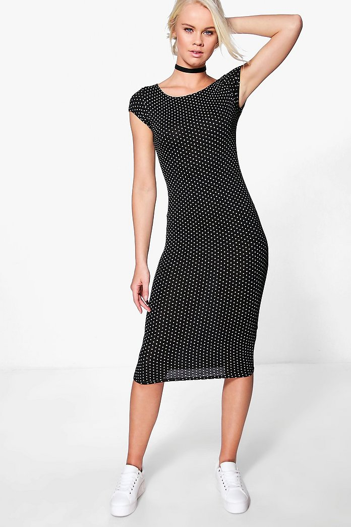 India Polka Dot Cap Sleeve Midi Dress