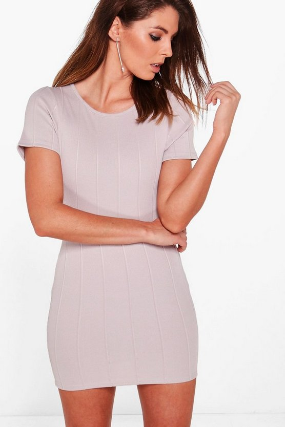 Amy Ribbed Short Sleeve Bodycon Dress