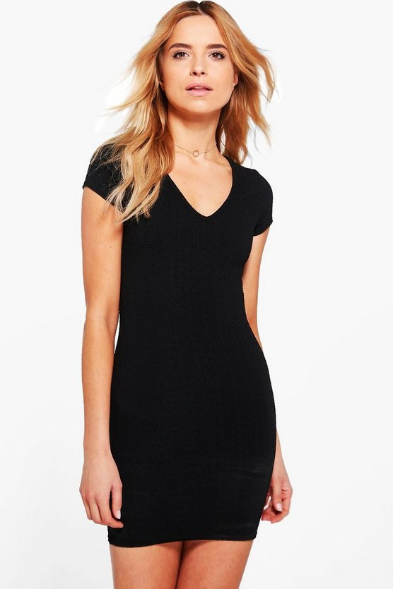 Lucy V-Neck Textured Bodycon Dress