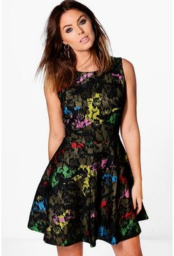 Jackie Printed Lace Skater Dress