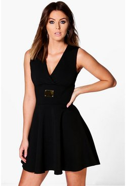 Liza Cross Front Sleeveless Skater Dress