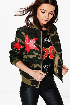 Savannah Star Camo Print Bomber Jacket