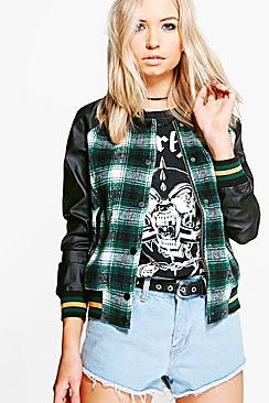 Rebecca Checked Sports Trim Bomber