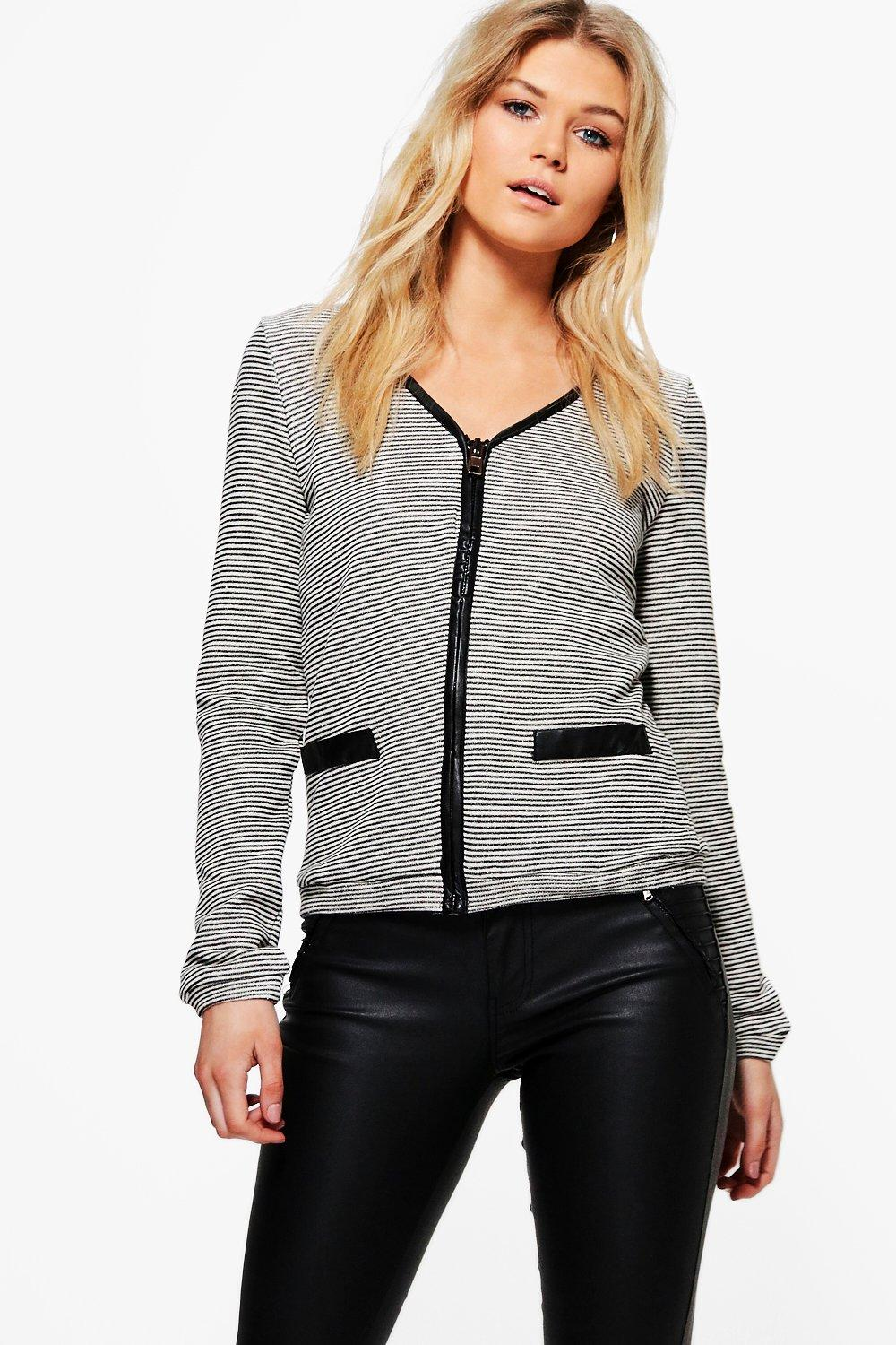 Knit Zip Through PU Trim Cardigan  grey