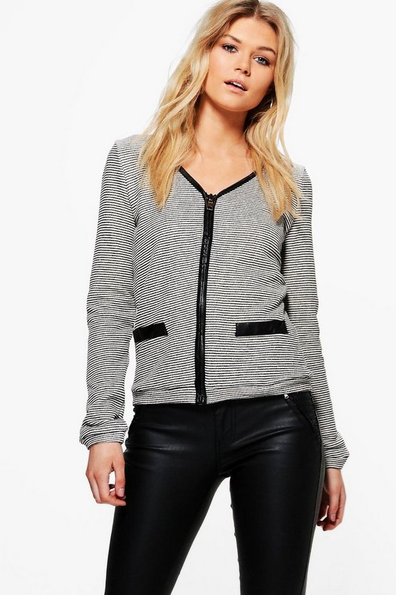 Olivia Knit Zip Through PU Trim Cardigan
