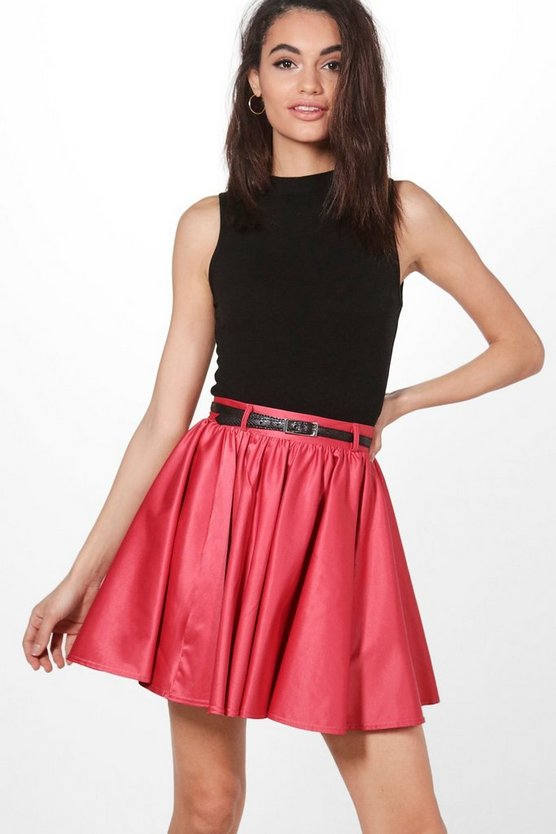 Eva Satin Full Woven Skater Skirt