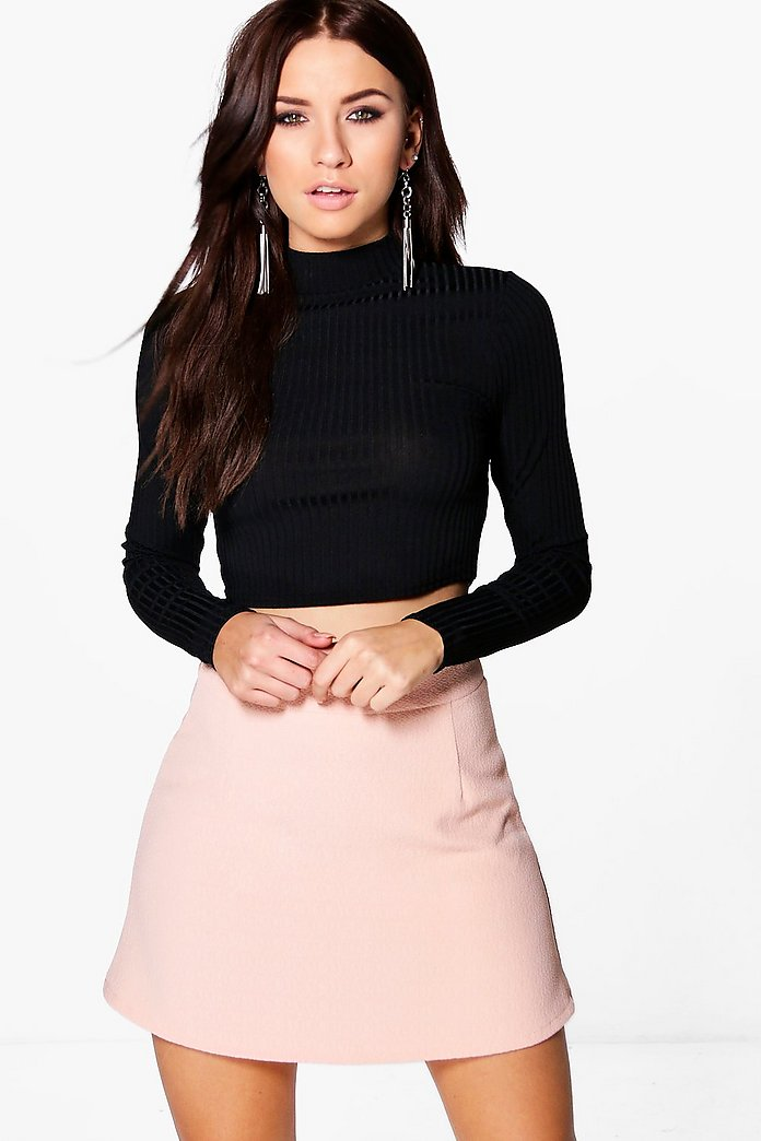 Orla Textured Woven A Line Mini Skirt