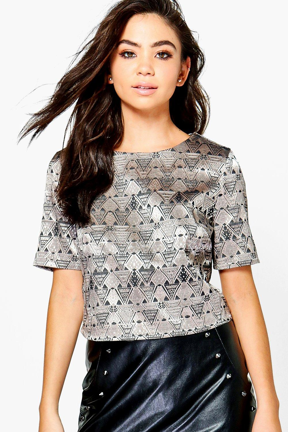 Verity Woven Jacquard Boxy Crop Top