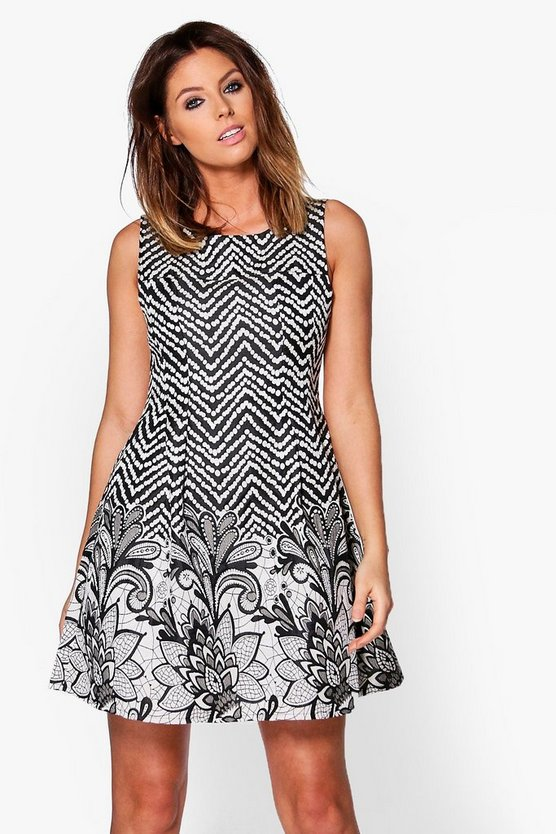 Beatrix Pattern Skater Dress