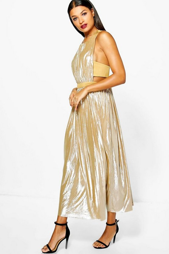 Collette Cut Out Metallic Maxi Dress