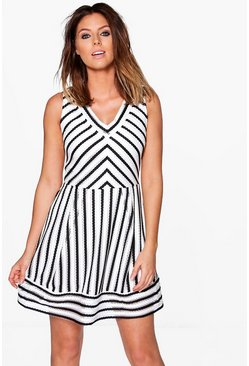 Candence Stripe A-Line Skater Dress