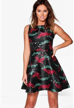 Eleanor Bird Print Skater Dress