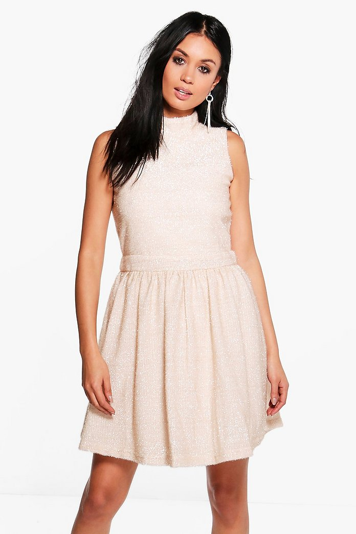 Camelia Sparkle High Neck Midi Dress