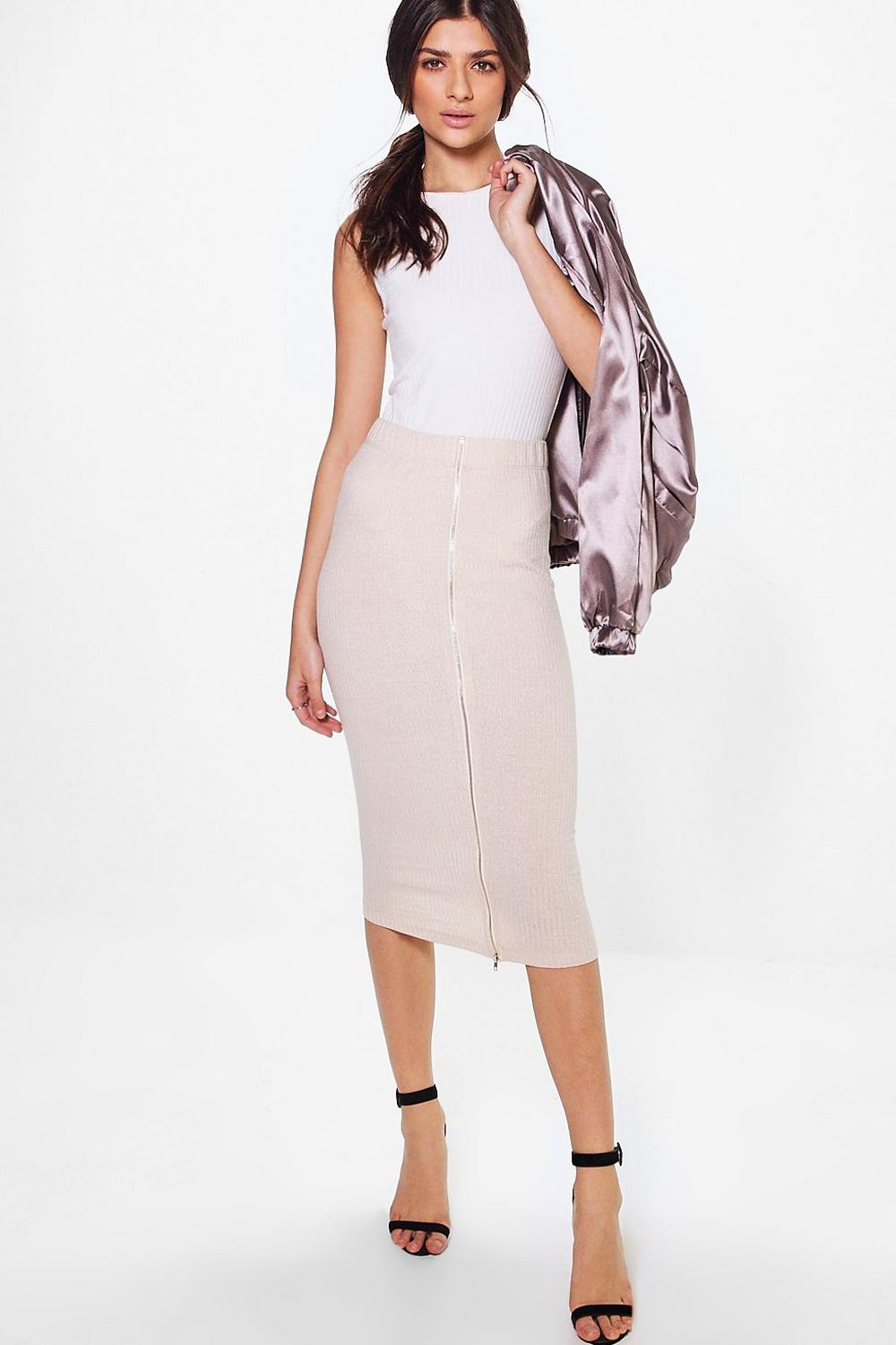 Nazia Ribbed Zip Back Midi Skirt