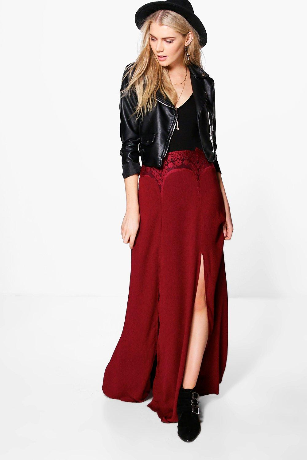 Elisia Lace Detail Split Front Maxi Skirt