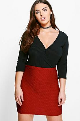 Plus Lucy Textured Mini Skirt