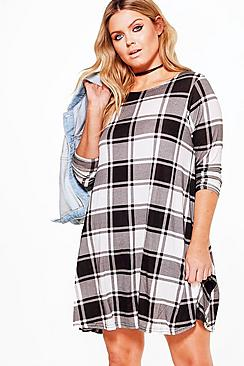 Plus Lola Check Print Swing Dress