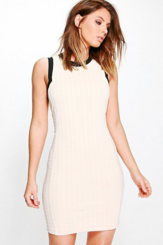 Liv Textured Contrast Colour Bodycon Dress