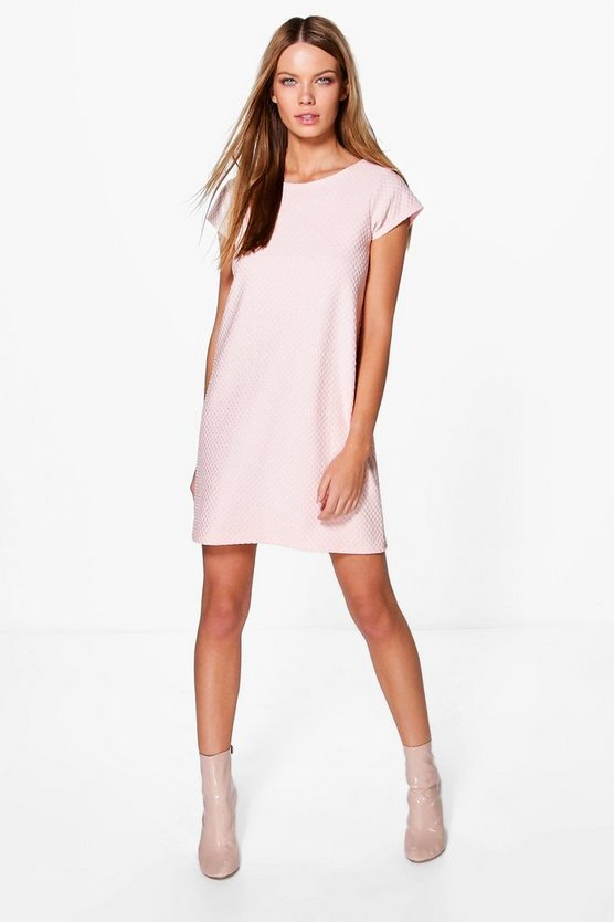Sakura Jaquard Cap Sleeve Shift Dress