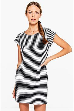 Millie Stripe Cap Sleeved Shift Dress