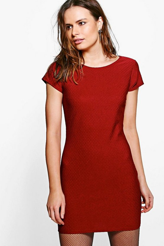 Kristen Jaquard Short Sleeve Bodycon Dress