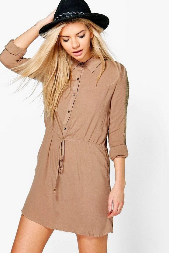 Camelia Lace Sleeve Belted Shirt Dress