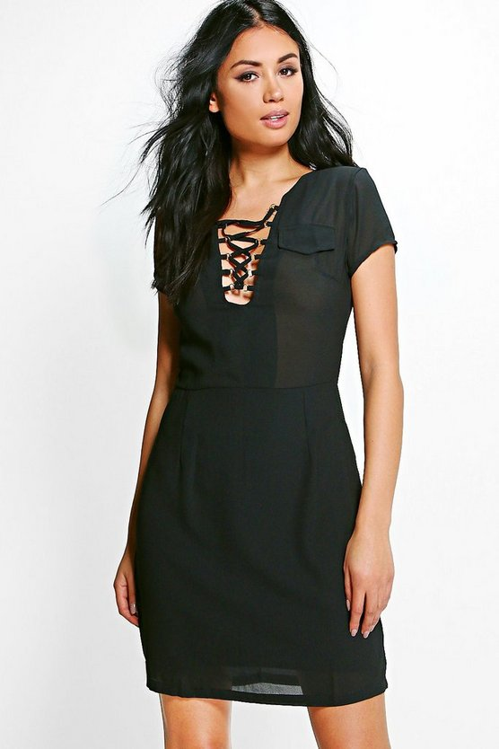 Elenora Lace Up Front Shift Dress