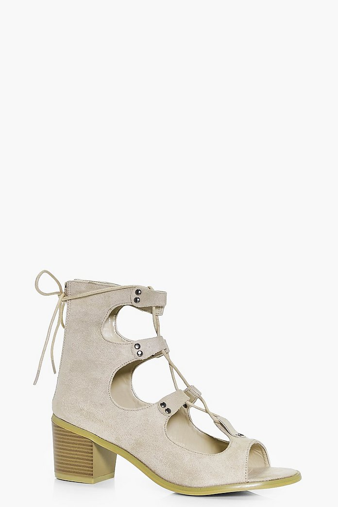 Evelyn Lace Up Peeptoe Shoe Boot