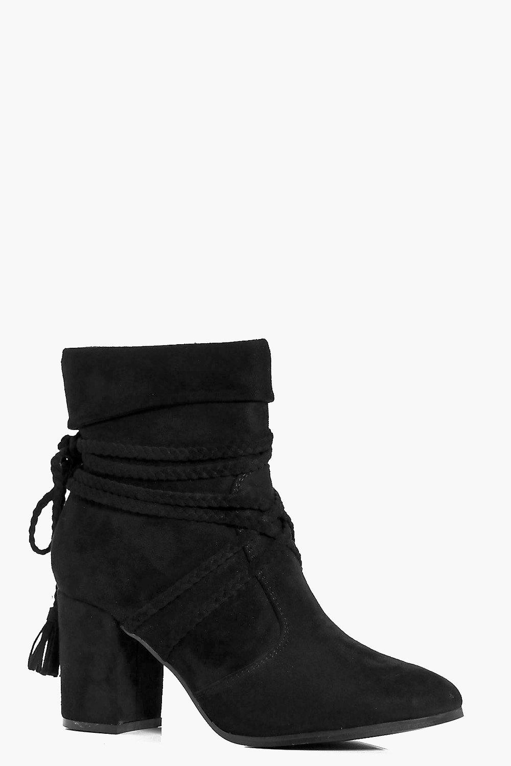 Emilia Plaited Wrap Strap Block Heel Boot