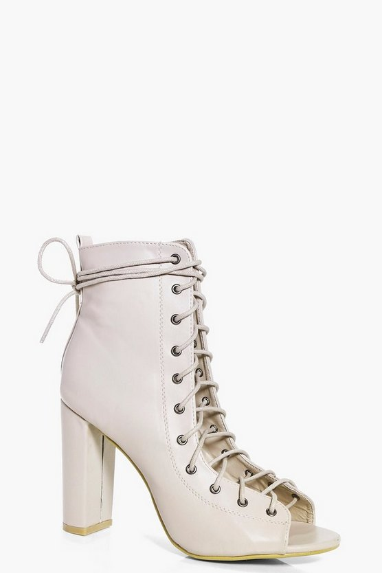 Maddison Peeptoe Lace Up Shoe Boot