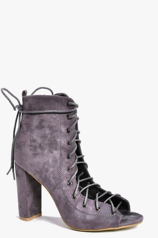 Zoe Peeptoe Lace Up Shoe Boot
