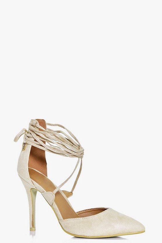 Eve Pointed Wrap Strap Court Heels