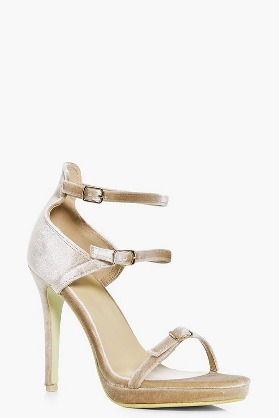 Ava Three Strap Barely There Heel