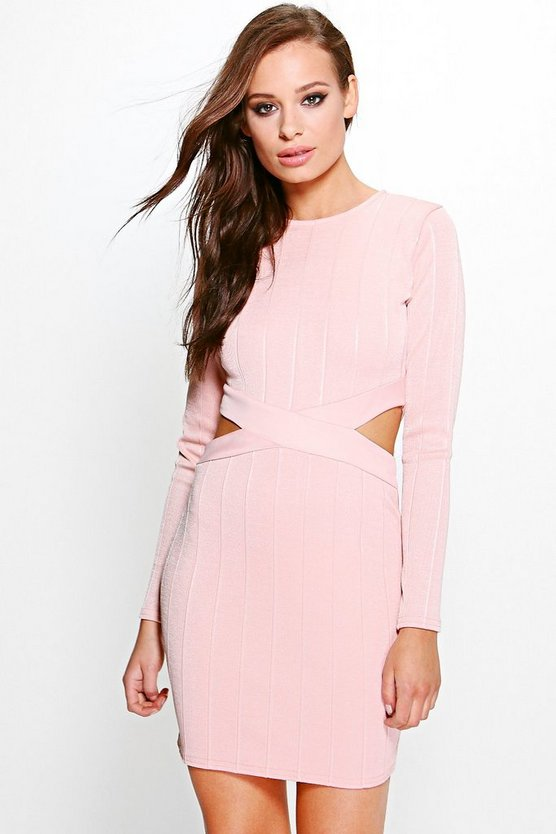 Finola Rib Knit Cut Out Bodycon Dress