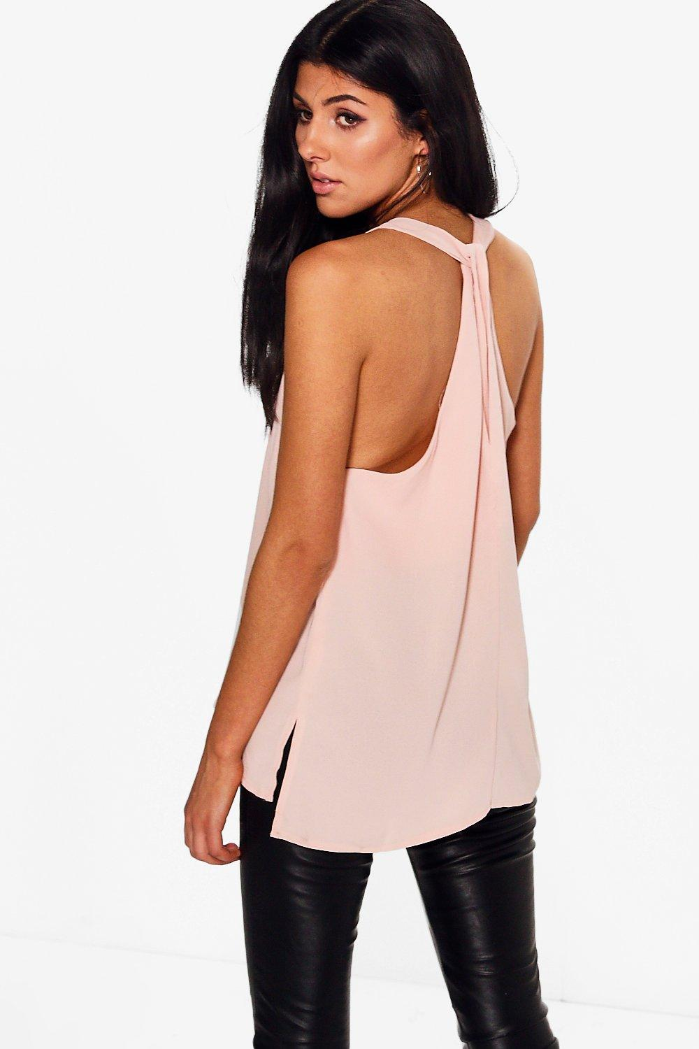 Twisted Back Cami - pink