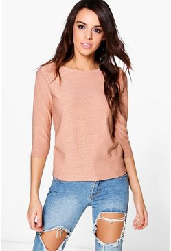 Tamara Textured Long Sleeved Jaquared Long Sleeve Top