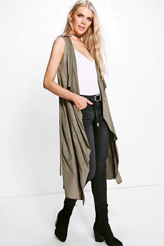 Florence Suede Waterfall Sleeveless Jacket