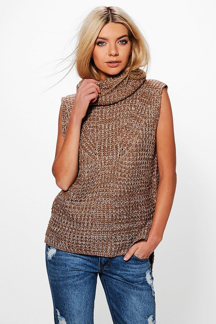 Lexi Sleeveless Roll Neck Jumper