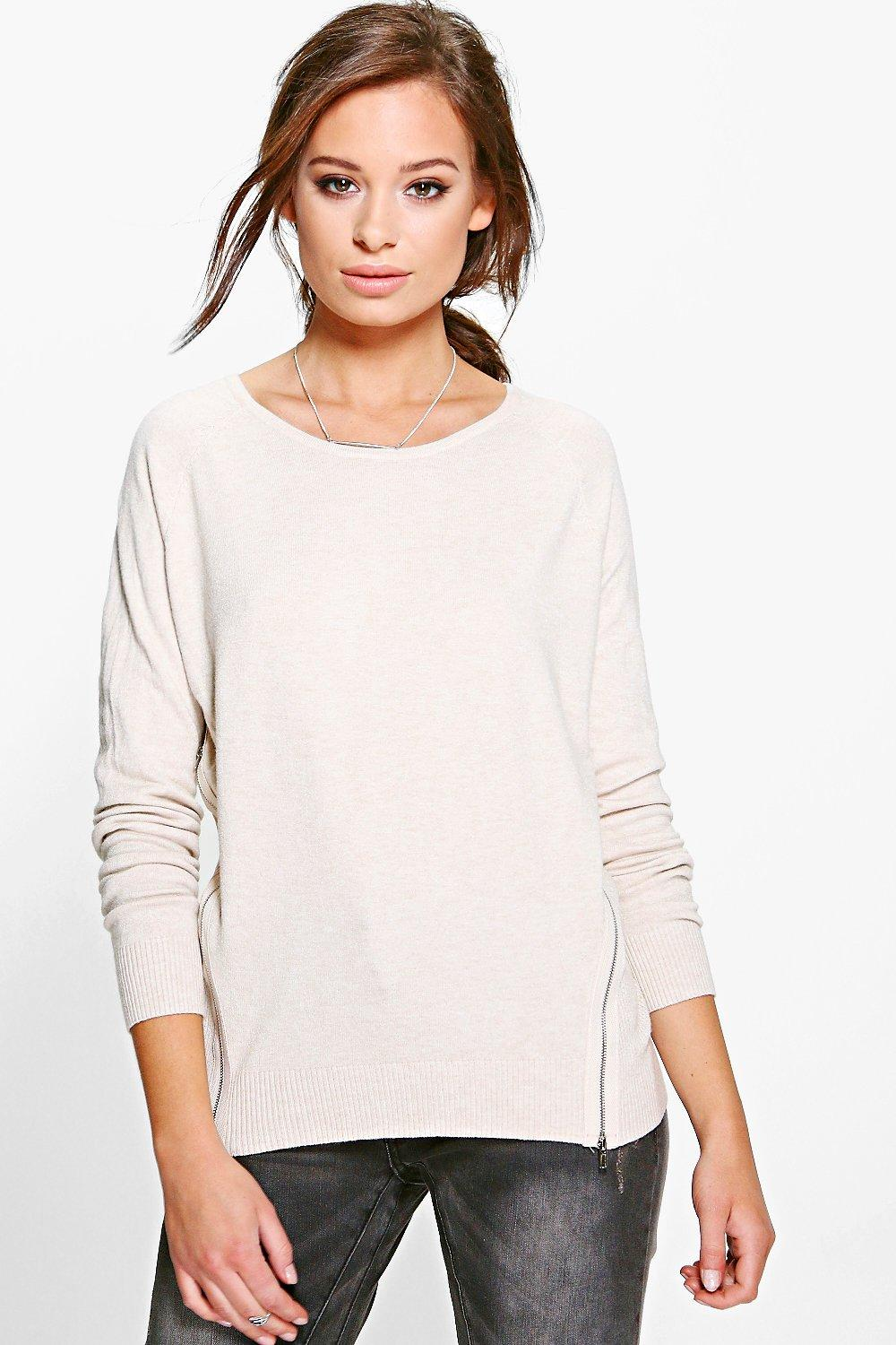 Brooke Long Sleeve Knitted Top With Zips