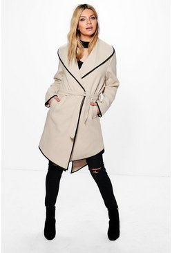 Megan Waterfall Coat With Piping