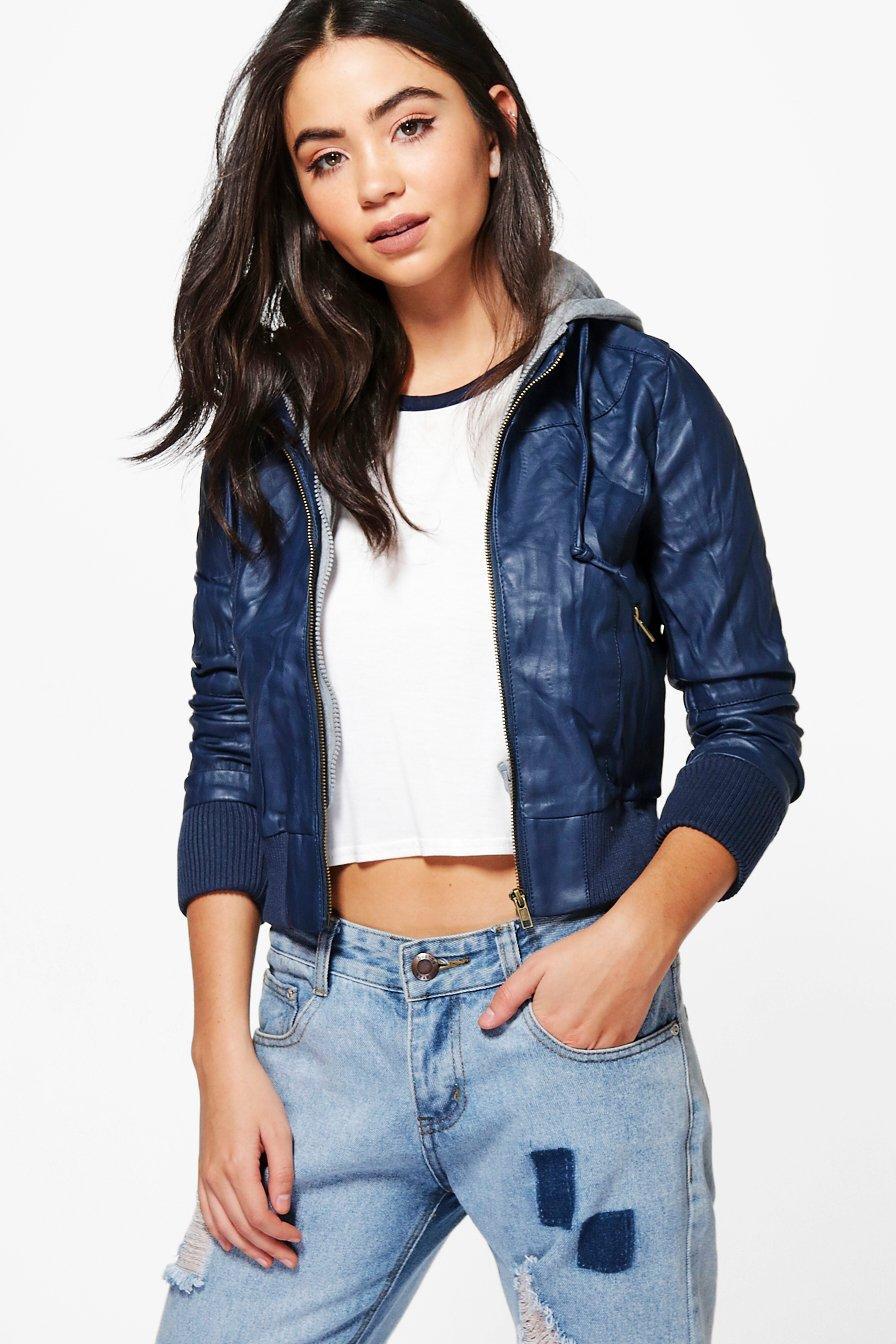 Faux Leather Hooded Biker Jacket  navy